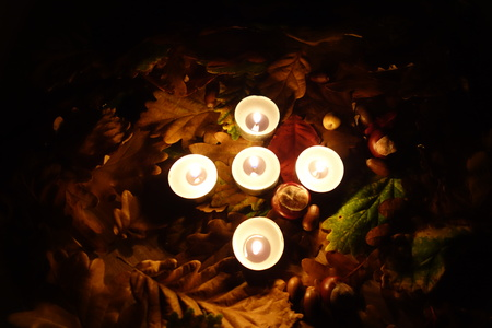 all souls' day: Memorial lights. All Souls Day. Stock Photo