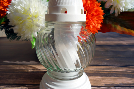 Wax candle in glass, memory symbol Stock Photo