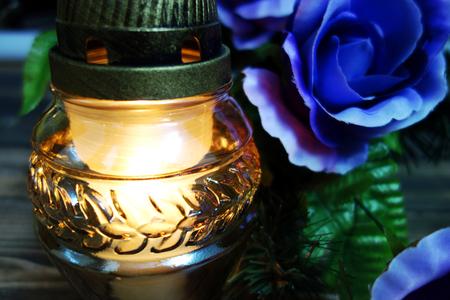 Candle light close view, memory symbol