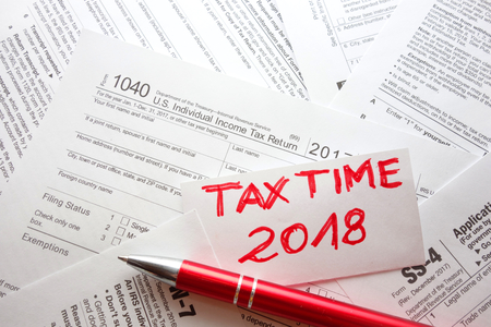 Blank US forms in office, tax time 2018 concept Stock Photo