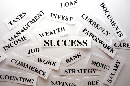 Busines success words abstract background concept Banque d'images