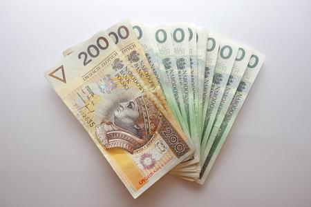 Polish PLN money on white background Reklamní fotografie