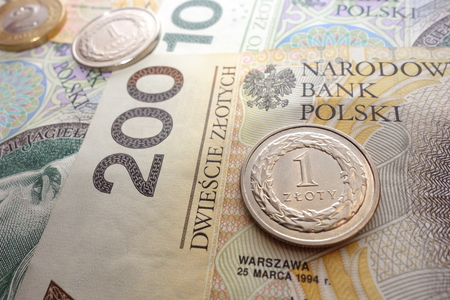 Polish one zloty coin on banknotes