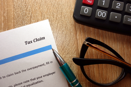 Tax claim document for filling in the office