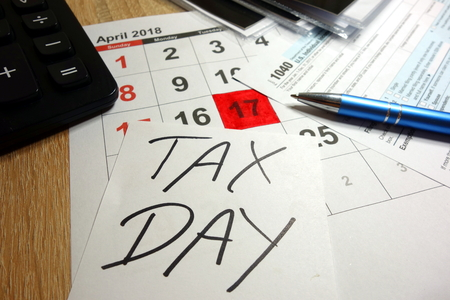 April 17 2018 marked as tax day in USA Stock Photo