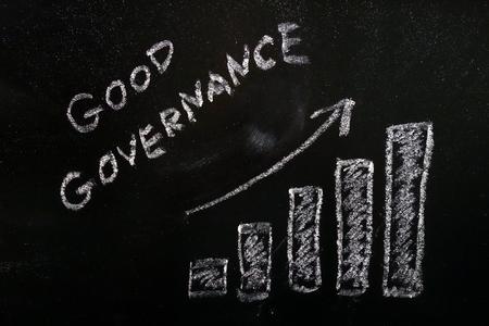 Concept de bonne gouvernance avec graphique à barres montrant la croissance