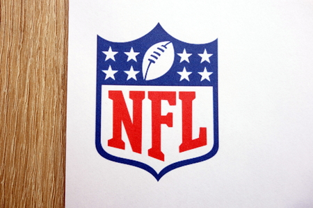 KONSKIE, POLAND - MAY 05, 2018: The NFL National Football League logo on paper sheet