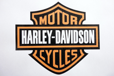 KONSKIE, POLAND - MAY 06, 2018: Harley Davidson motorcycles logo on a paper sheet