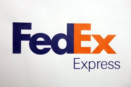 KONSKIE, POLAND - MAY 06, 2018: FedEx logo on a paper sheet