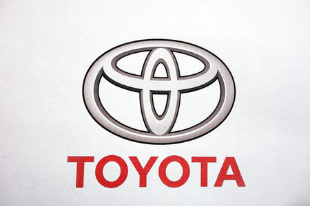 KONSKIE, POLAND - MAY 06, 2018: Toyota logo on a paper sheet