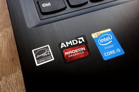 KONSKIE, POLAND - MAY 06, 2018: Personal computer with stickers: Energy Star, AMD Radeon Graphics and Intel Core i5