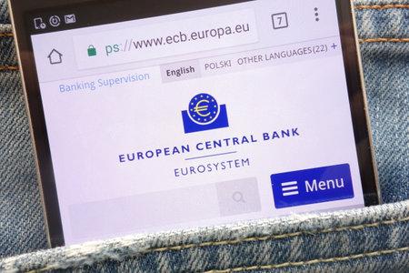 KONSKIE, POLAND - MAY 19, 2018: European Central Bank website displayed on smartphone hidden in jeans pocket Editorial