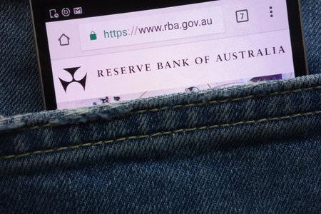 KONSKIE, POLAND - MAY 19, 2018: Reserve Bank of Australia (RBA) website displayed on smartphone hidden in jeans pocket