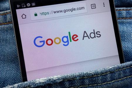 KONSKIE, POLAND - JUNE 01, 2018: Google Ads website displayed on smartphone hidden in jeans pocket
