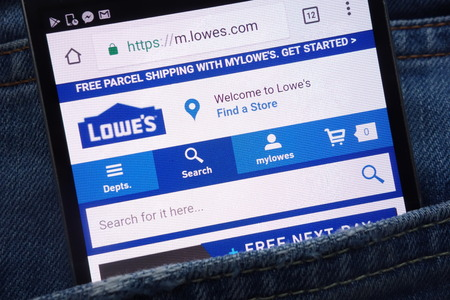 KONSKIE, POLAND - JUNE 01, 2018: Lowe`s website is displayed on smartphone hidden in jeans pocket
