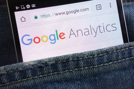 KONSKIE, POLAND - JUNE 01, 2018: Google Analytics website displayed on smartphone hidden in jeans pocket