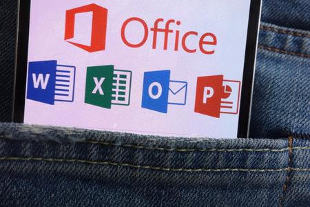 KONSKIE, POLAND - JUNE 01, 2018: Microsoft Office logo displayed on smartphone hidden in jeans pocket 報道画像
