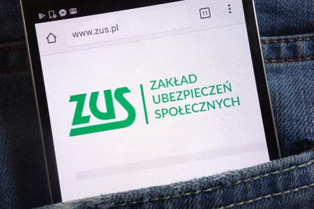 KONSKIE, POLAND - JUNE 01, 2018: Social Security (ZUS) website displayed on smartphone hidden in jeans pocket