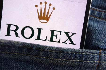 KONSKIE, POLAND - JUNE 01, 2018: Rolex logo displayed on smartphone hidden in jeans pocket