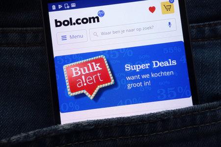 KONSKIE, POLAND - JUNE 02, 2018: Bol website displayed on smartphone hidden in jeans pocket Editorial