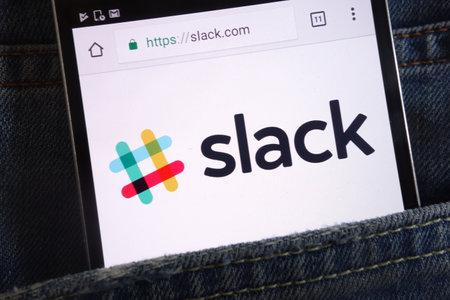 KONSKIE, POLAND - JUNE 02, 2018: Slack website displayed on smartphone hidden in jeans pocket