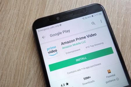 KONSKIE, POLAND - JUNE 24, 2018: Amazon Prime Video app on Google Play Store website displayed on Huawei Y6 2018 smartphone