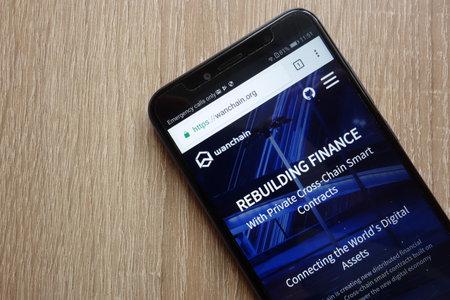 KONSKIE, POLAND - JULY 01, 2018: Wanchain (WAN) cryptocurrency website is displayed on Huawei Y6 2018 smartphone