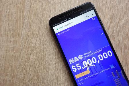 KONSKIE, POLAND - JULY 01, 2018: Nebulas (NAS) cryptocurrency website is displayed on Huawei Y6 2018 smartphone