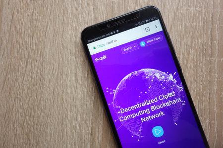 KONSKIE, POLAND - JULY 01, 2018: Aelf (ELF) cryptocurrency website is displayed on Huawei Y6 2018 smartphone