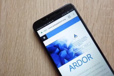 KONSKIE, POLAND - JULY 01, 2018: Ardor (ARDR) cryptocurrency website is displayed on Huawei Y6 2018 smartphone 에디토리얼