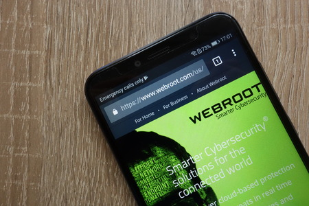 KONSKIE, POLAND - JULY 14, 2018: Webroot website is displayed on a modern smartphone