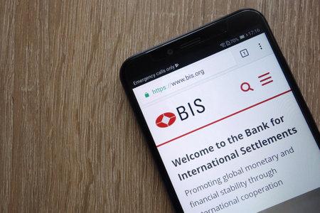 KONSKIE, POLAND - JULY 14, 2018: Bank for International Settlements (BIS) website displayed on a modern smartphone