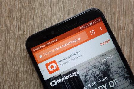 KONSKIE, POLAND - JULY 14, 2018: MyHeritage website is displayed on a modern smartphone