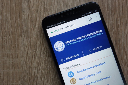 KONSKIE, POLAND - JULY 14, 2018: Federal Trade Commission (FTC) website displayed on a modern smartphone