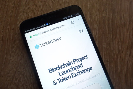KONSKIE, POLAND - JULY 17, 2018: Tokenomy (TEN) cryptocurrency website displayed on a modern smartphone