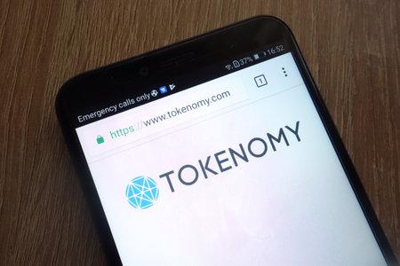 KONSKIE, POLAND - JULY 17, 2018: Tokenomy (TEN) cryptocurrency website displayed on a modern smartphone