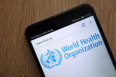 KONSKIE, POLAND - JULY 14, 2018: World Health Organization (WHO) official website displayed on a modern smartphone
