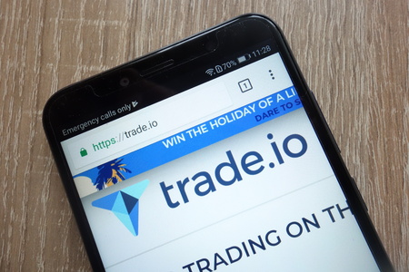 KONSKIE, POLAND - JULY 14, 2018: Trade Token (TIO) cryptocurrency website displayed on a modern smartphone Editorial