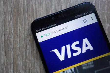 KONSKIE, POLAND - JULY 21, 2018: VISA company website displayed on a modern smartphone