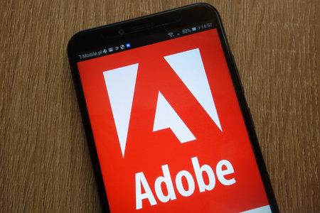 KONSKIE, POLAND - SEPTEMBER 01, 2018: Adobe logo displayed on a modern smartphone