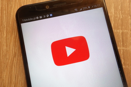 KONSKIE, POLAND - SEPTEMBER 01, 2018: YouTube displayed on a modern smartphone Editorial