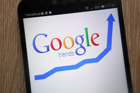 KONSKIE, POLAND - SEPTEMBER 06, 2018: Google Trends logo displayed on a modern smartphone