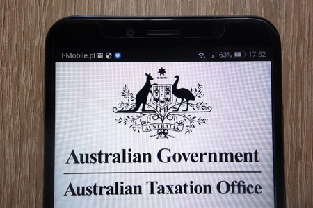 KONSKIE, POLAND - SEPTEMBER 06, 2018: Australian Government - Australian Taxation Office logo displayed on a modern smartphone