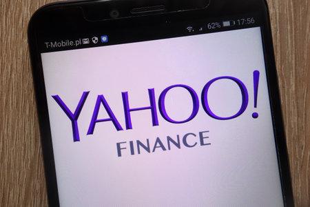 KONSKIE, POLAND - SEPTEMBER 06, 2018: Yahoo Finance logo displayed on a modern smartphone