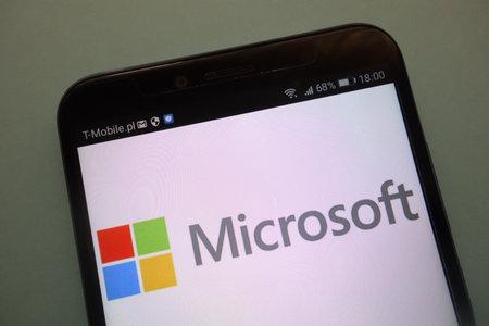 KONSKIE, POLAND - SEPTEMBER 08, 2018:  the brand Microsoft on a modern smartphone