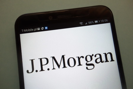 KONSKIE, POLAND - SEPTEMBER 08, 2018: JP Morgan on a smartphone
