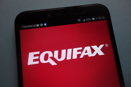 KONSKIE, POLAND - SEPTEMBER 08, 2018: Equifax on a smartphone