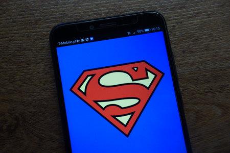 KONSKIE, POLAND - SEPTEMBER 07, 2018: Superman logo displayed on a modern smartphone