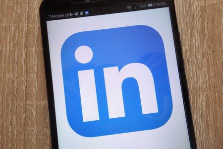 KONSKIE, POLAND - SEPTEMBER 07, 2018: LinkedIn logo displayed on a modern smartphone
