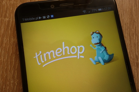 KONSKIE, POLAND - SEPTEMBER 07, 2018: Timehop ??logo displayed on a modern smartphone Editorial